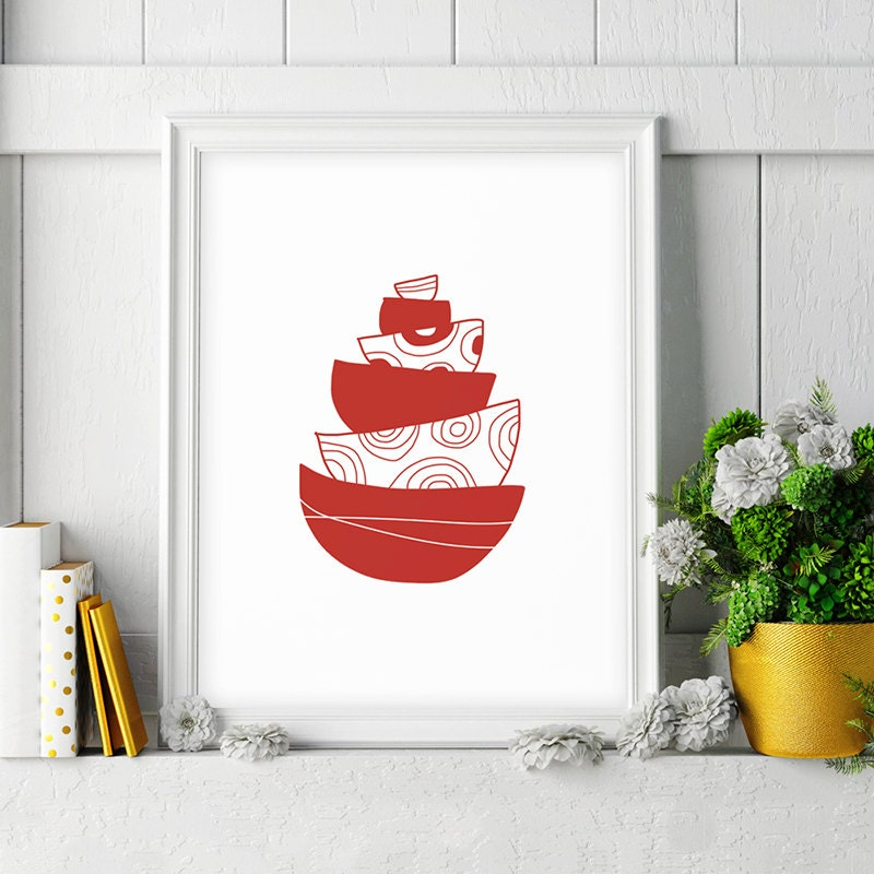 Kitchen Wall Decor In Red : Red kitchen decor large wall art print bowl