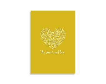 Illustration art print, Be smart and love, Mustard, White, Wall art, Inspirational Design, Scandinavian Art, Love art