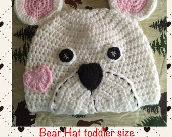 Toddler size ~ Patch Bear Beanie Hat  ~ get ready for Winter
