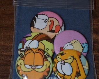 """Vintage """"GARFIELD"""" Comic Buttons - Pack of five 1.25"""" Buttons"""