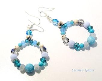 Sky blue Jasper, Women jewelry, Gemstone earrings, Chalcedony dangles, Statement, blue gemstone, beaded dangles, Handmade, Gift for her