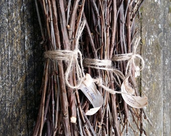 natural tree branches stick of wood twigs wood branches wild cherry tree dried bunch bundle rustic home decor simple primitive twig supplies