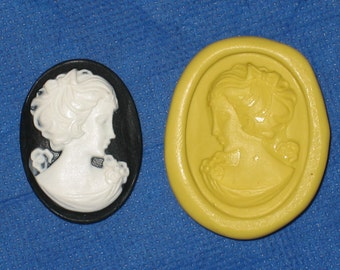 Woman Cameo Flexible Push Mold Candy Food Safe Silicone #362 Bookscrapping