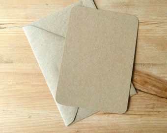 Pack of  100 A6 recycled kraft postcards & envelopes rounded round corners blank diy post cards invitations rustic wedding C6