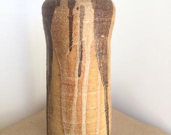 Large Vintage Mid Century Studio Pottery Vase 1970s Tall Cylindrical