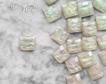 10pcs ∙ Cream Faceted Opal Acrylic Square Iridescent Decoden Gem Tiles Flatback Cabochon Faux Fire Opal Jewelry Supplies