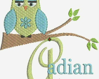INSTANT DOWNLOAD Machine Embroidery Designs Pes format  Font Alphabet Owl Branch Font Name Gift Set