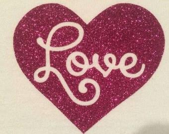 Glitter Vinyl Love Heart Vinyl Iron-On