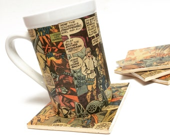 Superhero Coffee Mug - Geeky Mug - Geek Gift - Customized Mug - Personalized Mug - Birthday Gift - Tea Cup - Comic Book Mug - Retro Mug