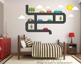 Transportation Wall Decals, Car Wall Decals, Wall Decals Nursery, Baby Wall Decal, Boys Wall Decals, Kids Wall Decal, REMOVABLE and REUSABLE