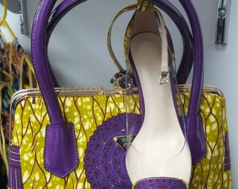 All bag and green purple shoes