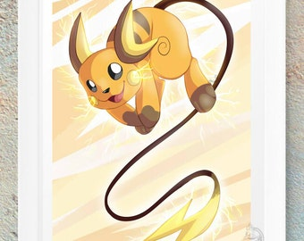 Pokemon Raichu Fan Art Print Gift Handmade Design Video Game Geeky Nerd