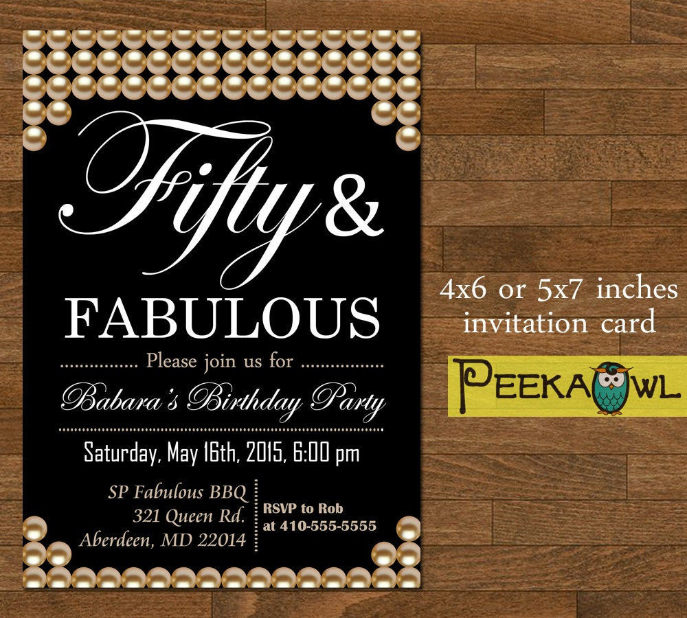 Printable Pearl 50th Birthday Invitation Card Fifty And