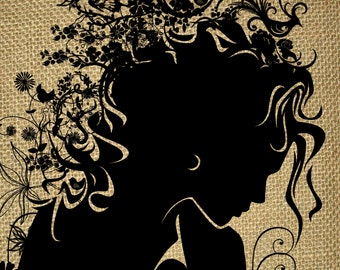 INSTANT DOWNLOAD-Female Face-Floral-Beautiful Girl Silhouette with Flowers and Butterfly in Hair-Lady Flora-Printable-Digital Sheet- No.735