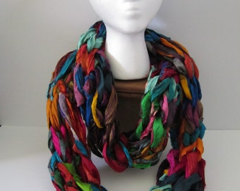 Recycled Silk Sari Ribbon Arm Knit Infinity Scarf
