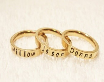 Personalized  Name Ring, Stacking Name Ring, Personalized Stackable Ring, Hand Stamped Ring, Gold Stacking Ring, 3mm Ring (HSSR0004)