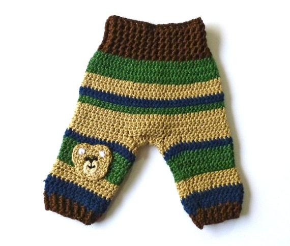 Crochet Pattern Baby Boy Newsboy Hat : Baby Boy Crocheted Pants Striped Pattern of Brown Tan