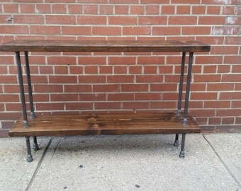 Pipe and wood console table || steel wood sofa table