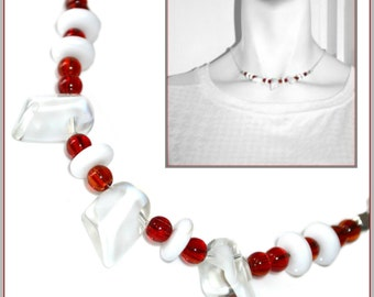 Red and White glass choker necklace