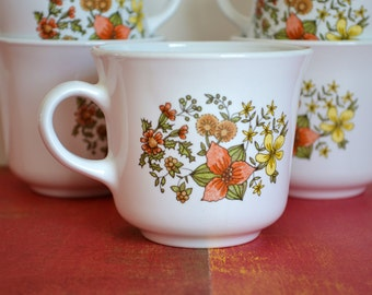 Set of 6 Vintage Corelle Livingware Indian Summer Coffee Cups