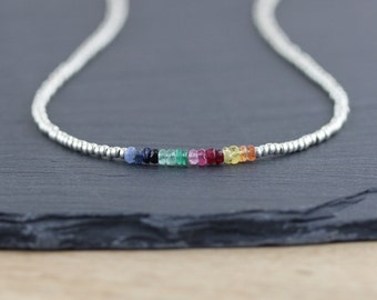 Blue and Yellow Sapphire, Ruby, Emerald and Miyuki Seed Bead Necklace. Ombre Gemstone Necklace. Dainty Layering Necklace. Delicate Necklace