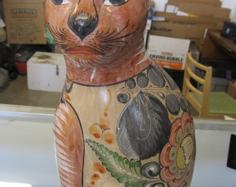 Large-Vintage-Mexican-ToLarge Vintage Mexican Tonola Pottery Hand Painted Cat Figurine