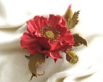 Decorative flower decoration leather coral poppy,flower corsage , brooch hairpin,decoration for women and girls.Make to order