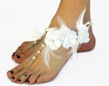 Hemp Bridal Barefoot Sandals, Fancy Couture Wedding Sandals, Feather Accents, Handmade in USA, Barefoot Jewelry, Beach Weddings