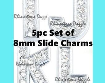 52pcs bling rhinestone letter 8mm slide charms alphabet slide