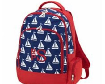 Flash Sale, Monogrammed Backpack, Personalized Backpack for Boys or Girls, Boats