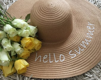 Hat, floppy hat, summer hat, headpiece, beach hat, embroiderery, summer floppy hat, hair accessories, beach accessories, straw hat