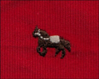 Red corduroy with embroidered horse by fabric finders