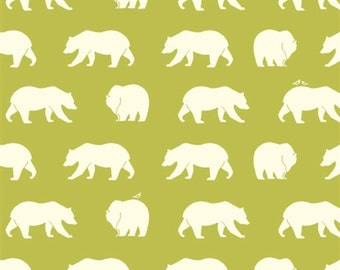 Birch Fabric Bear Hike Grass organic cotton knit from Bear Camp knit line lime green bear print stretch knit