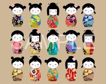 Fabric Block Art Block *Kokeshi Dolls Tan* 16-100 FREE SHIPPING