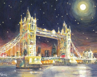 LONDON PRINT, Tower Bridge, River Thames, Mounted Print, Moonlight, Starry Night, City Print, Cityscape, River, Bridges, Watercolour, Thames