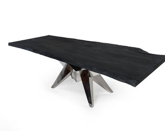 Live Edge Dining Table 8.2 feet (sku1602-19C -black)
