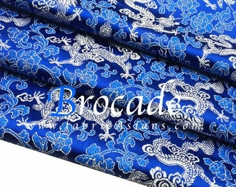 Dragon Fabric. Royal Blue Brocade