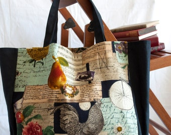 CLEARANCE Vintage Print Canvas Tote Bag