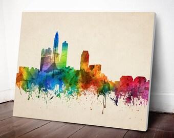 Des Moines Skyline Canvas Print, Des Moines Cityscape, Des Moines Art Print, Home Decor, Gift Idea, USIADE05C