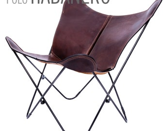 100% Handcrafted Original Butterfly Chair Polo leather with black frame from Argentina (Big BKF)