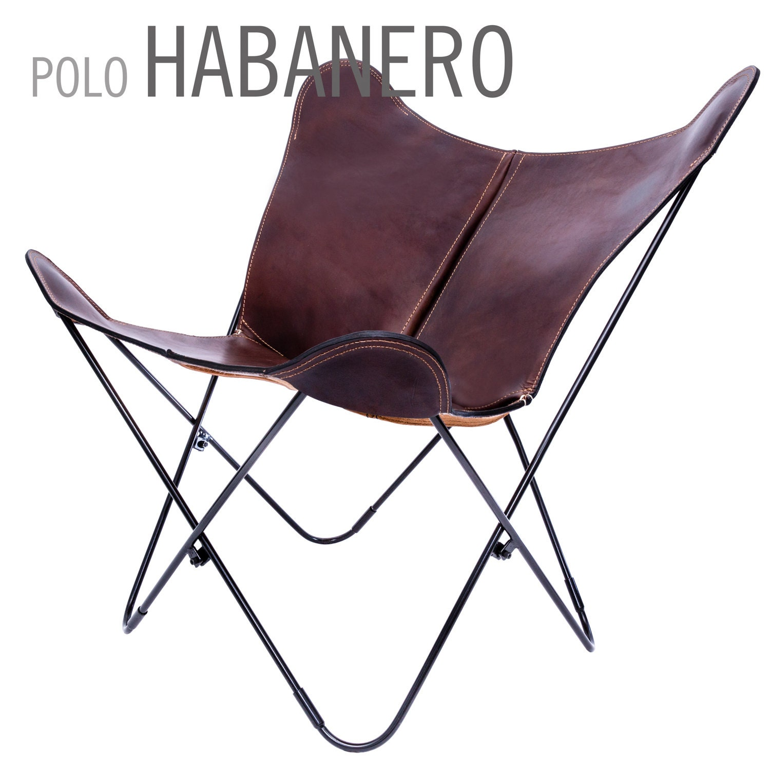 Butterfly chair original - 100 Handcrafted Original Butterfly Chair Polo Leather With Black Frame From Argentina Big Bkf