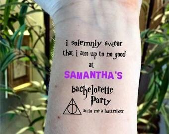Bachelorette tattoo Bachelorette party tattoo Harry Potter tattoos Harry Potter Bachelorette tattoos custom tattoos wedding tattoos