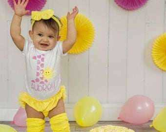 you are my sunshine first birthday baby girls first birthday outfit sunshine first birthday outfit summer first birthday pink and yellow