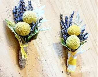 Lavender & Yellow Button Boutonniere, Crespedia, Billy Ball