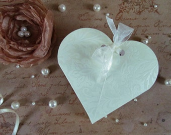 3 Pcs Small Embossed Heart Shaped Paper Boxes, Deep Ivory, 3.54x3.93 in, Packaging, Favor Gift Box, Gift Boxes, Favor Boxes, Wedding Boxes