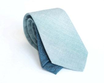 Light blue linen tie, slim necktie