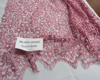 Marvelous Belagio Design Bridal wedding flower guipure fabric lace dusty rose. Sold by the yard.