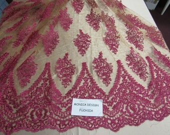 Magnificent French design bridal wedding embroider fabric mesh lace fuschia. Sold by yard.