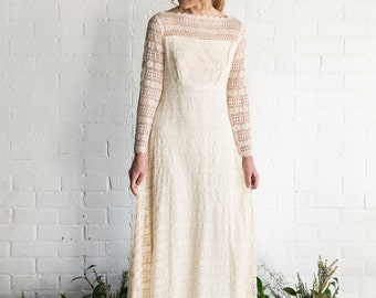 ON SALE~ ISLA - 1970's Vintage Lace Wedding Dress