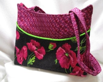 Pink poppies shoulder bag